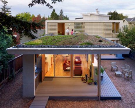 Casas com telhado verde